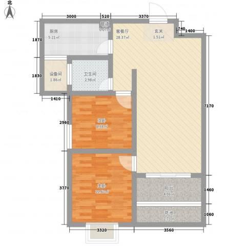 富雅锦园2室1厅1卫1厨95.00㎡户型图