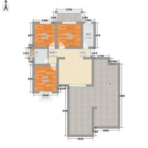 富雅锦园3室1厅1卫1厨104.00㎡户型图