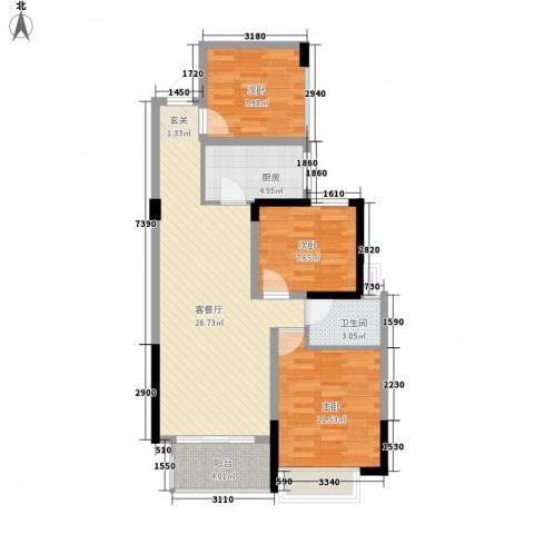 南湖学府3室1厅1卫1厨95.00㎡户型图