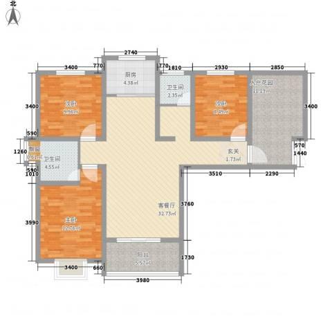 富雅锦园3室1厅2卫1厨133.00㎡户型图