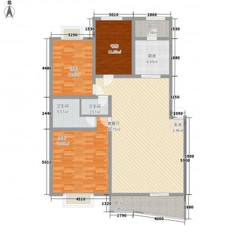 高新花园3室1厅2卫1厨147.00㎡户型图