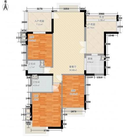 保利花园3室1厅2卫1厨144.00㎡户型图
