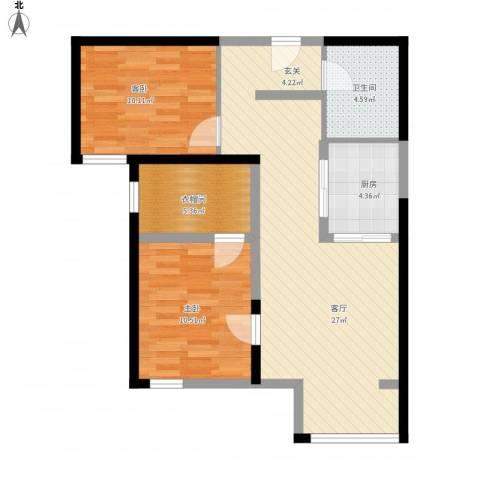北京御湖湾2室1厅1卫1厨90.00㎡户型图