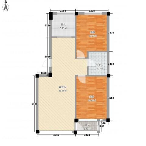 金润花园三期2室1厅1卫1厨82.00㎡户型图