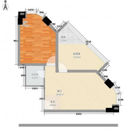 帝玖商业中心1室1厅1卫0厨74.00㎡户型图