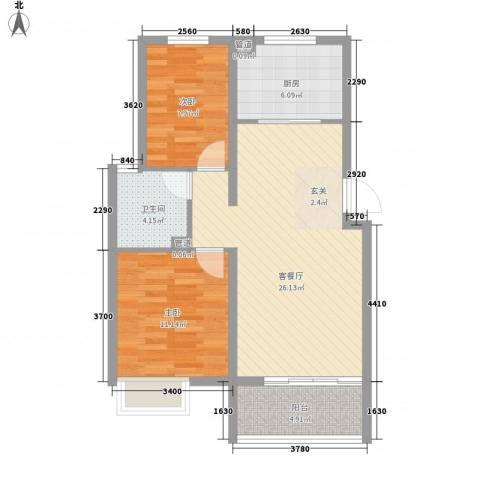 东方巴黎城2室1厅1卫1厨86.00㎡户型图