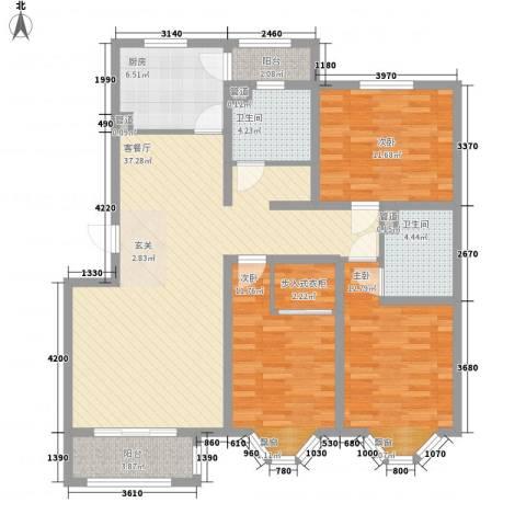 宽城3室1厅2卫1厨123.00㎡户型图