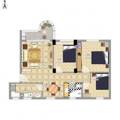 泰安花园3室1厅1卫1厨103.00㎡户型图