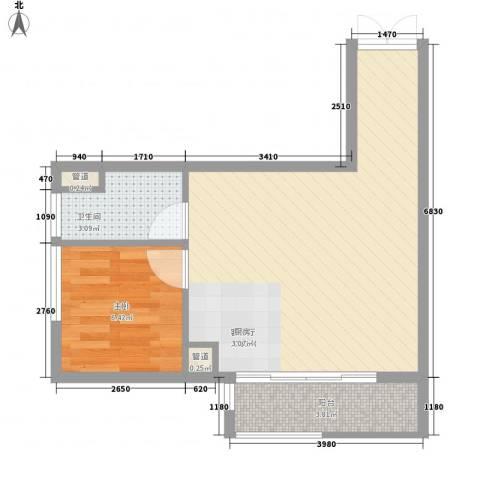 白领公寓1室1厅1卫0厨51.00㎡户型图