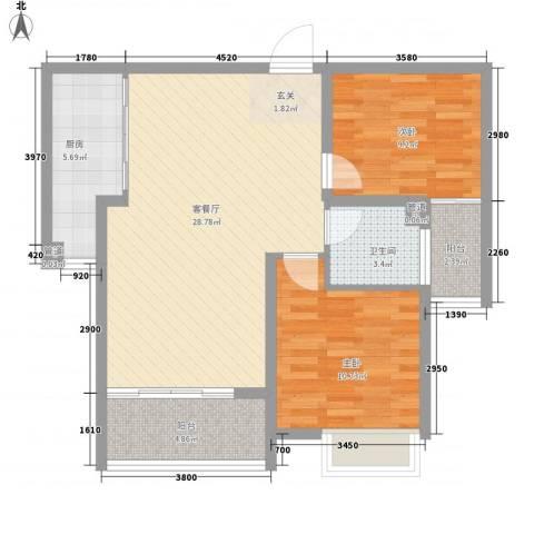 东方巴黎城2室1厅1卫1厨93.00㎡户型图