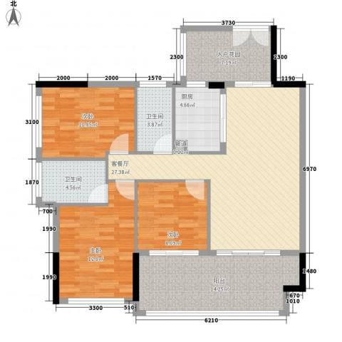 金沙美地3室1厅2卫1厨93.77㎡户型图