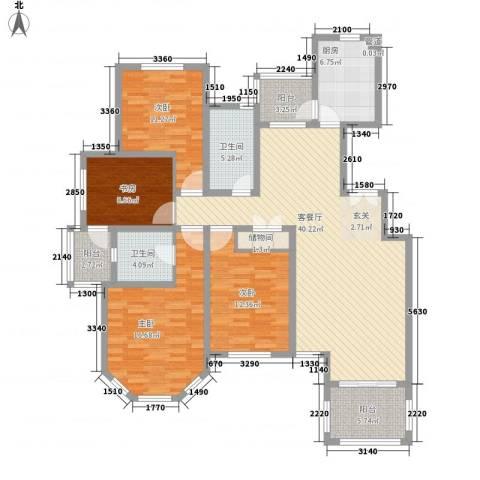 尚东国际名园4室1厅2卫1厨170.00㎡户型图