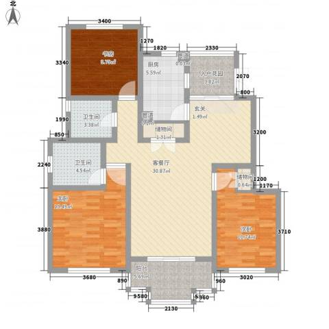 尚东国际名园3室1厅2卫1厨133.00㎡户型图