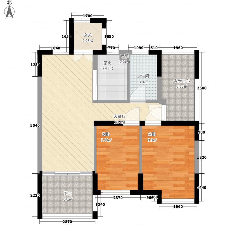 优活华庭84.45㎡优活华庭户型图二期B2-b户型2室2厅1卫1厨户型2室2厅1卫1厨