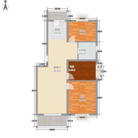 水榭华庭3室1厅1卫0厨88.00㎡户型图