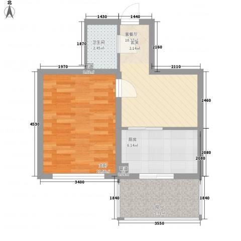 上城俪园1室1厅1卫1厨49.00㎡户型图