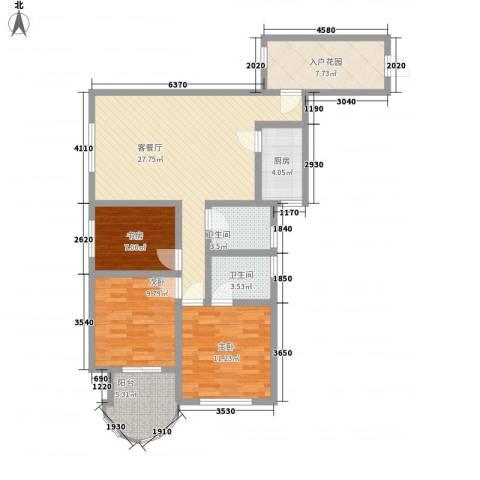 世纪一品3室1厅2卫1厨117.00㎡户型图