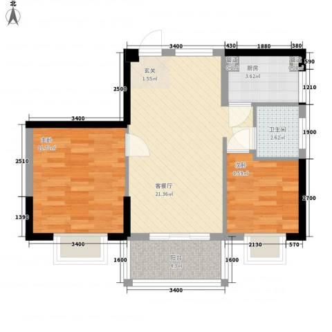 瑞海尚都2室1厅1卫1厨72.00㎡户型图