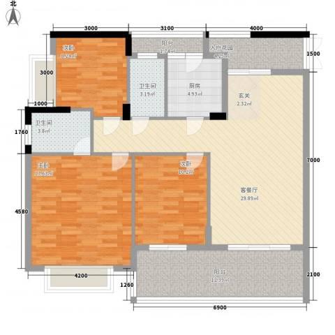 瑞海尚都3室1厅2卫1厨137.00㎡户型图