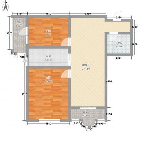 盛滨花园2室1厅1卫1厨104.00㎡户型图