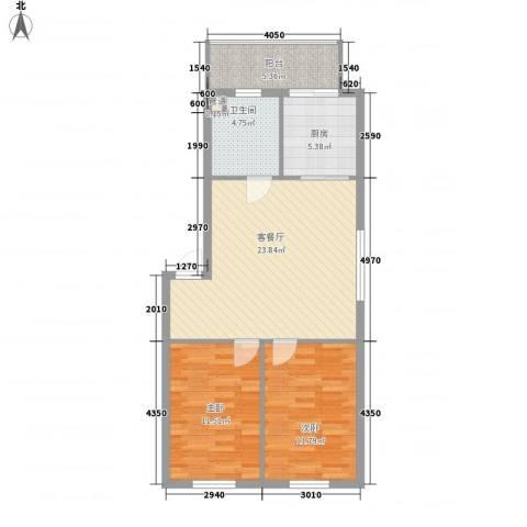 新嘉坡城2室1厅1卫1厨87.00㎡户型图