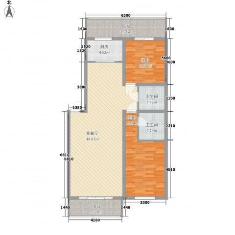 净馨家园2室1厅2卫1厨121.00㎡户型图