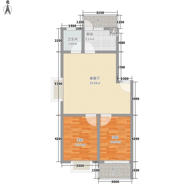 金腾莫村半岛84.26㎡4#A1户型2室2厅1卫1厨