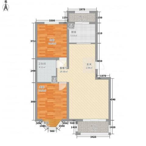 宽城2室1厅1卫1厨89.00㎡户型图
