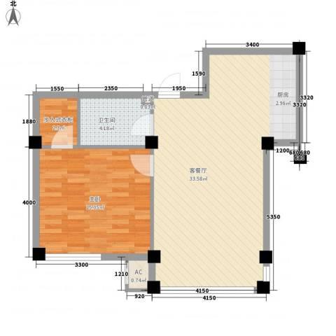 大安海韵花园1室1厅1卫0厨79.00㎡户型图