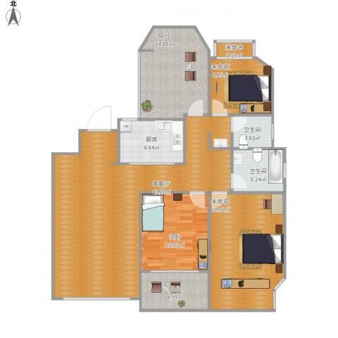 金地自在城1室1厅2卫1厨162.00㎡户型图