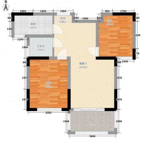 瑞海尚都2室1厅1卫1厨87.00㎡户型图