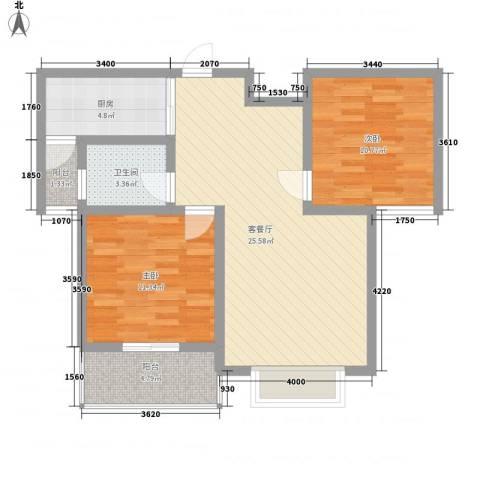 南阳藏珑2室1厅1卫1厨90.00㎡户型图