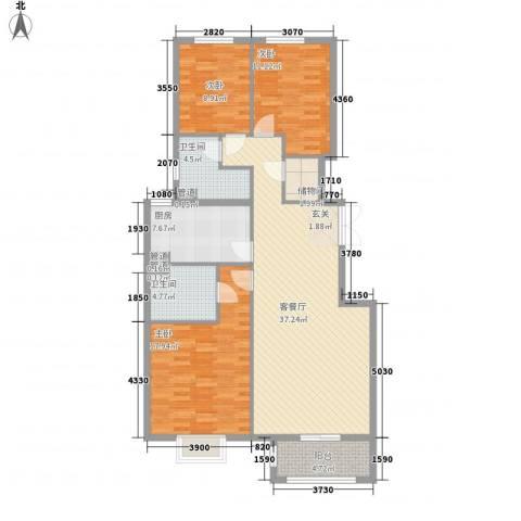 北京御园3室1厅2卫1厨139.00㎡户型图