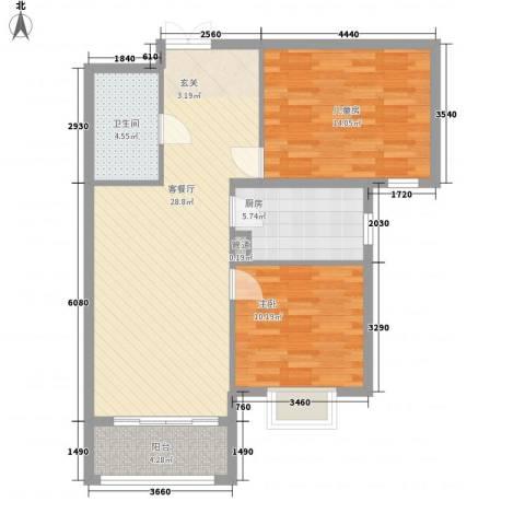 北京御园2室1厅1卫1厨95.00㎡户型图