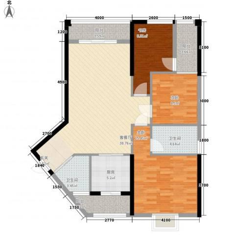 瑞海尚都3室1厅2卫1厨124.00㎡户型图