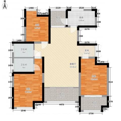 城市空间3室1厅2卫1厨143.00㎡户型图