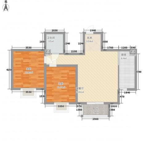北京御园2室1厅1卫1厨97.00㎡户型图