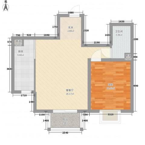 北京御园1室1厅1卫1厨72.00㎡户型图