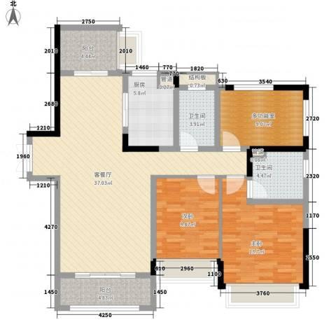 华发・蔚蓝堡2室1厅2卫1厨137.00㎡户型图