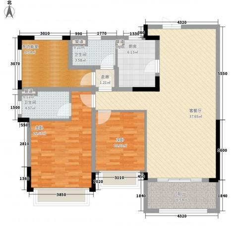 华发・蔚蓝堡2室1厅2卫1厨138.00㎡户型图