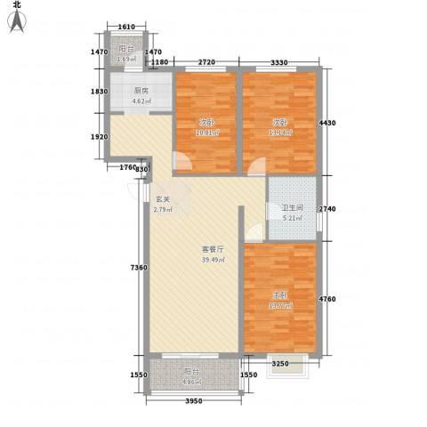 北京御园3室1厅1卫0厨126.00㎡户型图
