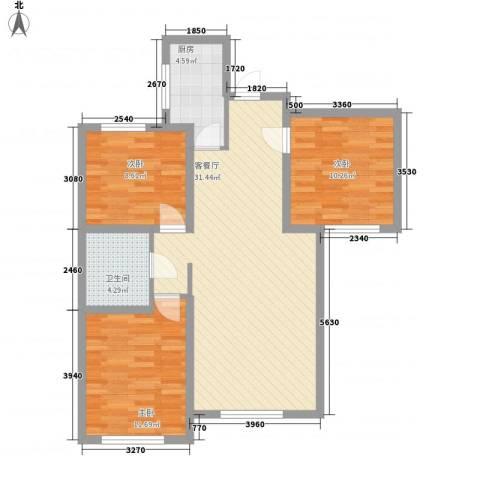 鼎晟国际3室1厅1卫1厨101.00㎡户型图