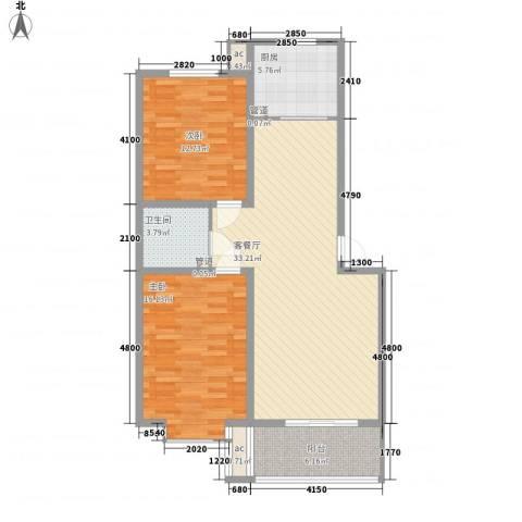 环岛豪庭2室1厅1卫1厨99.00㎡户型图
