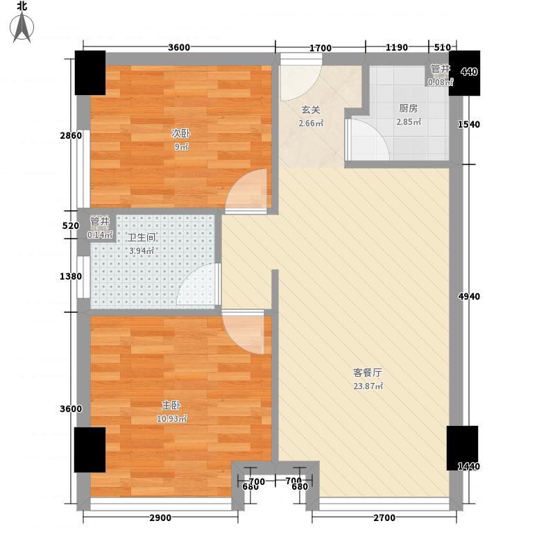 江城世家户型2室2厅1卫1厨