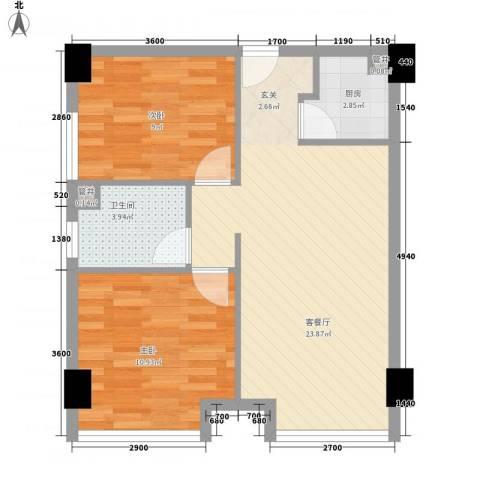 江城世家2室1厅1卫1厨72.00㎡户型图