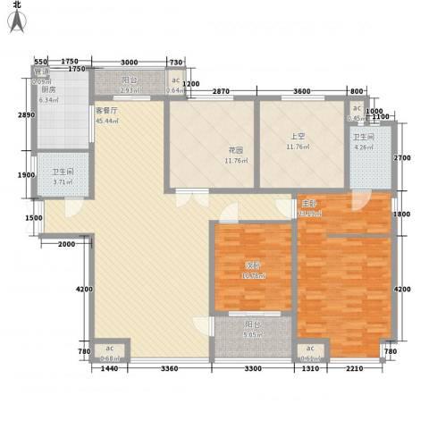 �灞1号2室1厅2卫1厨181.00㎡户型图
