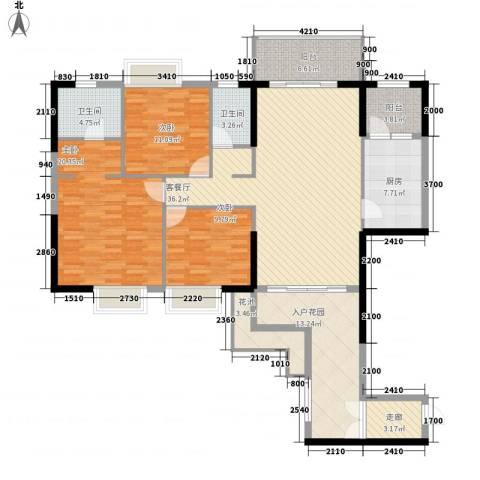 荔园悦享星醍3室1厅2卫1厨123.43㎡户型图