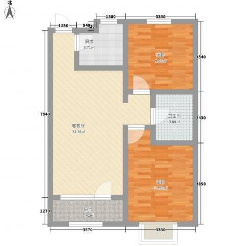 鼎晟国际2室1厅1卫1厨82.00㎡户型图