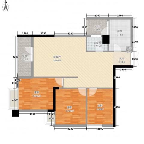 尚城・国际3室1厅1卫1厨122.00㎡户型图