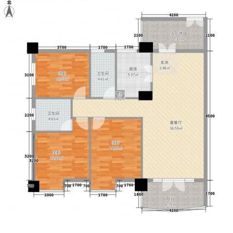 尚城・国际3室1厅2卫1厨144.00㎡户型图